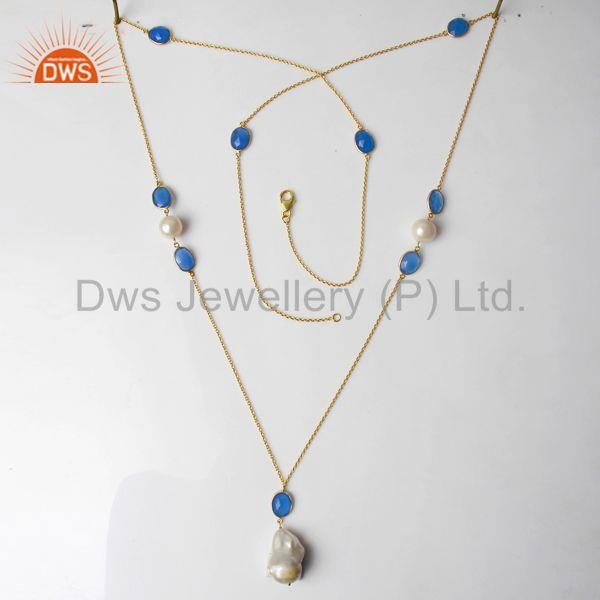 Exporter Freshwater Pearl Gemstone 925 Silver Necklace Jewelry Manufacturer