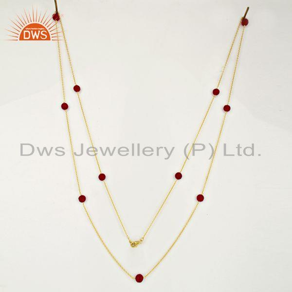 Exporter Pink Chalcedony Gemstone Gold Plated Silver Chain Necklace Supplier