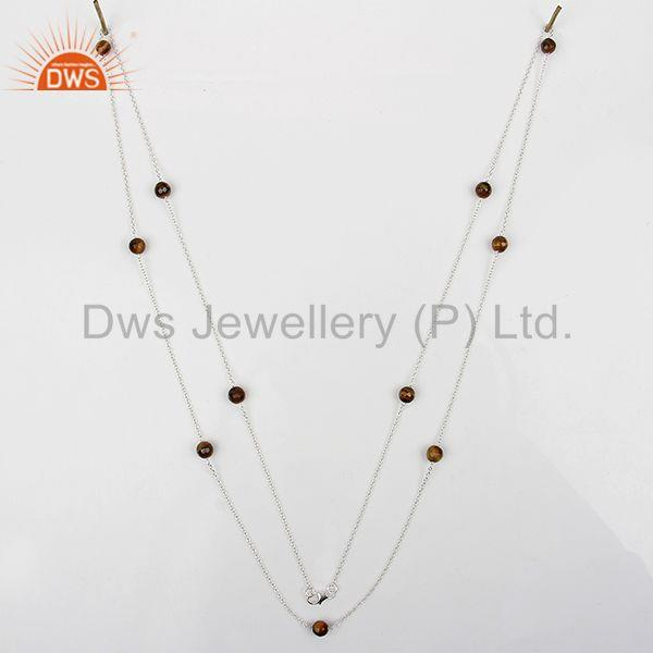 Exporter White 925 Silver Tiger Eye Gemstone Chain Necklace Jewelry Wholesale