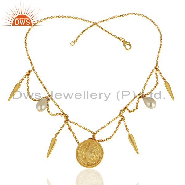 Exporter Handmade Pearl Gemstone Gold Plated Silver Womens Necklace Jewelry