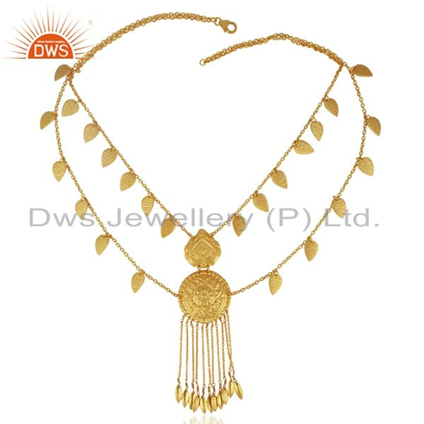 Exporter 925 Sterling Silver Gold Plated Traditional Necklace Jewelry Supplier