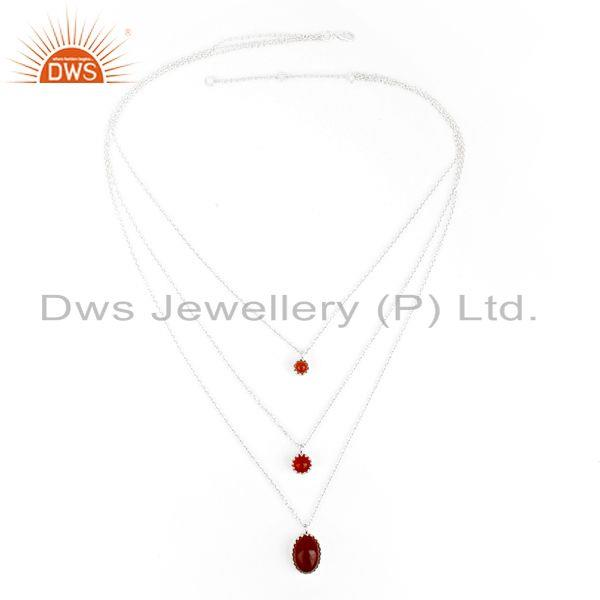 Exporter Carnelian Gemstone Fine Sterling Silver Chain Necklace Manufacturer India