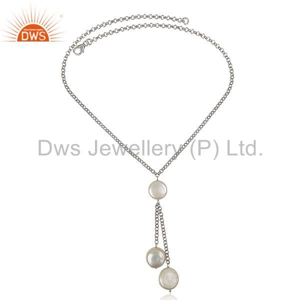 Exporter Natural White Pearl 925 Sterling Silver Chain Pendant Manufacturers