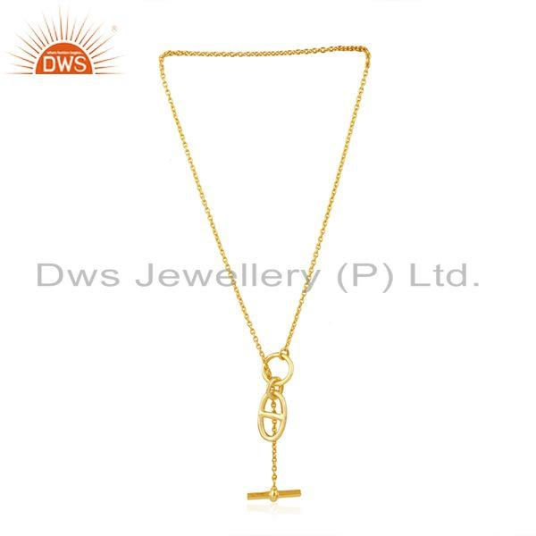 Exporter Yellow Gold Plated 925 Sterling Silver Chain Link Pendant Manufacturer