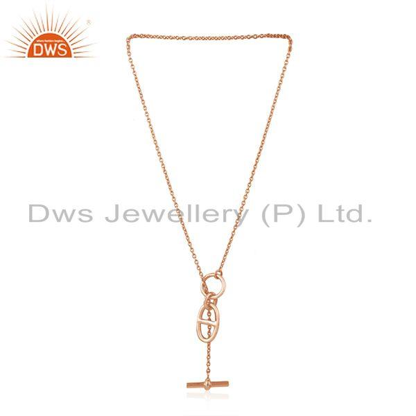 Exporter 14k Rose Gold Plated 925 Sterling Silver Chain and Link Pendant Wholesale