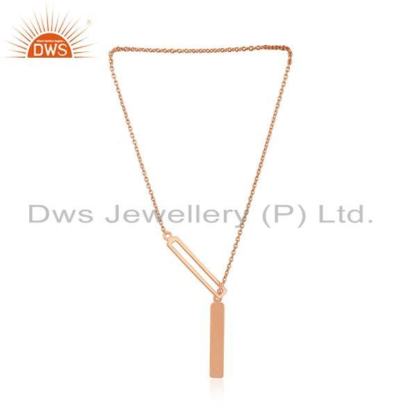Exporter Handmade Rose Gold Plated 925 Silver Chain Pendant Indian Jewelry Manufacturer