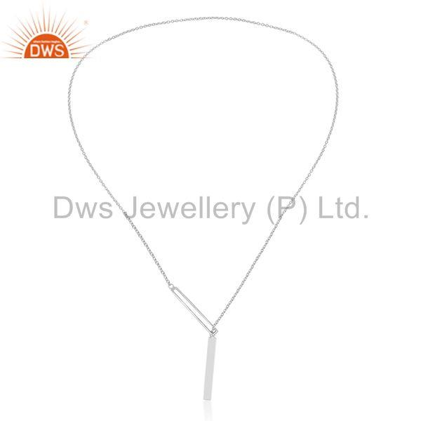 Exporter Handmade 925 Sterling Plain Silver Chain and Link Pendant Necklace Wholesale