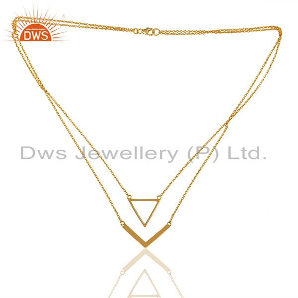 Exporter Handmade Gold Plated 925 Silver Chain Necklace Pendant Wholesale