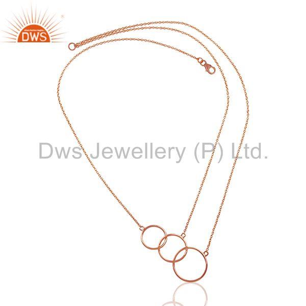 Exporter 18k Rose Gold Plated Sterling Silver Three Circle Charm Chain Pendant
