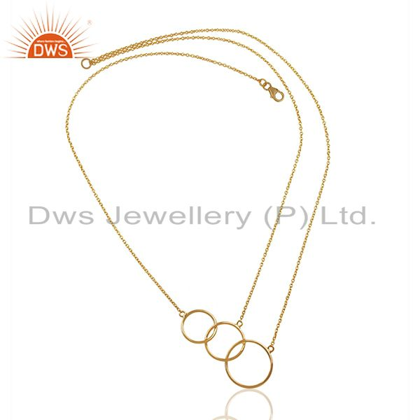 Exporter Solid 92.5 Sterling Silver Gold Plated Girls Necklace Pendant Supplier