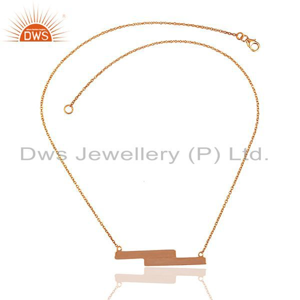 Exporter 18k Rose Gold Plated 925 Silver Simple Bar Design Girls Chain Pendant