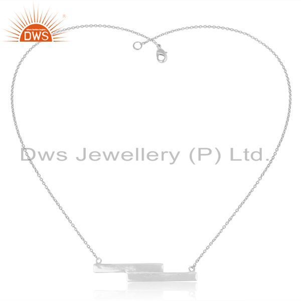 Exporter White Sterling Plain Silver Bar Design Pendant With Chain Manufacturer