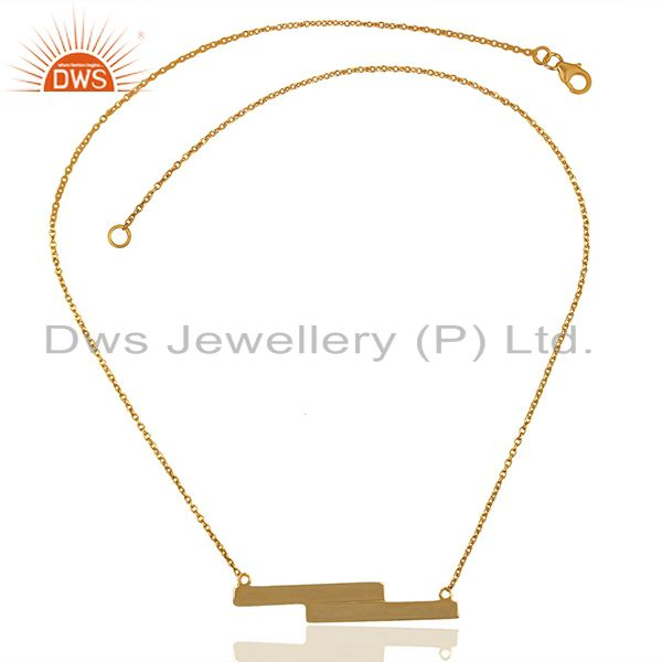 Exporter Handmade Gold Plated 925 Silver Bar Pendant Necklace Manufacturers