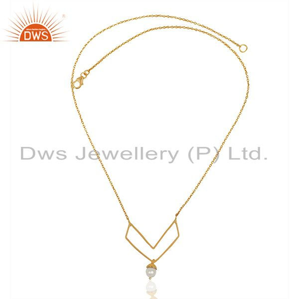 Exporter Gold Plated Sterling 92.5 Silver Fresh Watar Pearl Pendant Wholesale