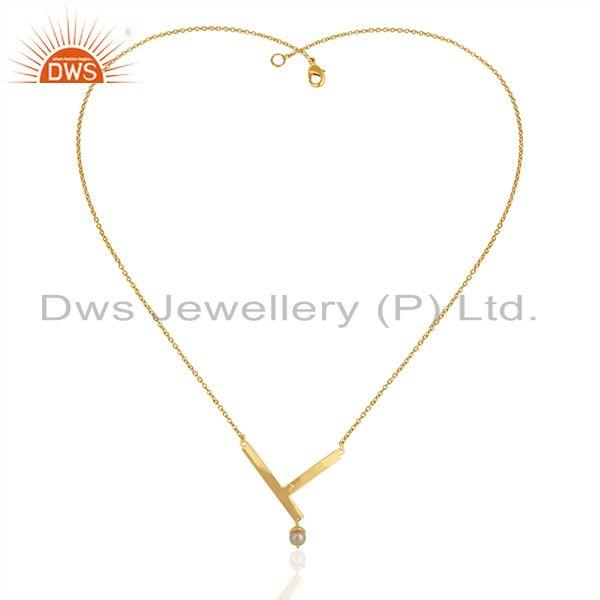Exporter Handmade 14k Gold Plated Sterling 925 Silver Natural Pearl Pendant Wholesale