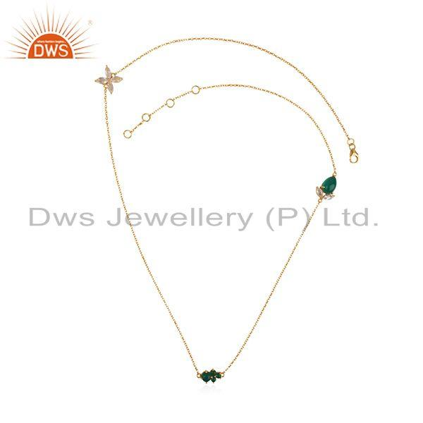 Exporter Multi Gemstone 925 Silver Gold Plated Chain Pendant Manufacturers