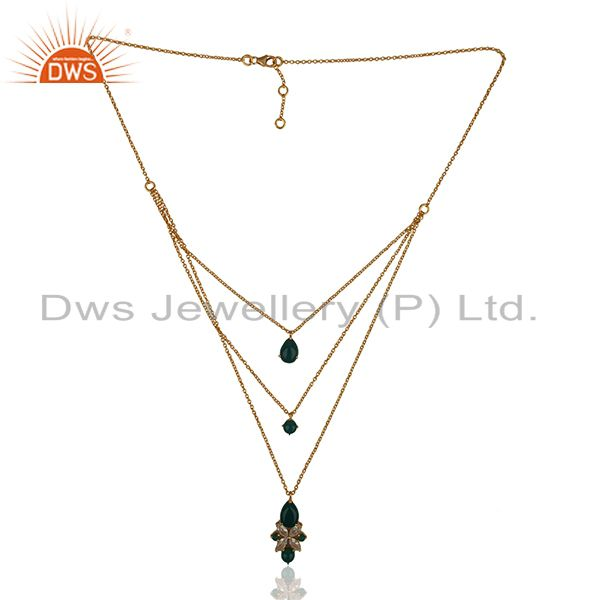 Exporter Handmade 925 Silver Gold Plated Chain Pendant Necklace Wholesale