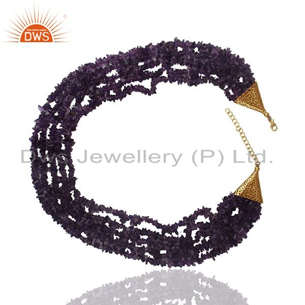 Exporter Natural Amethyst Beaded Gemstone 925 Silver Necklace Wholesale