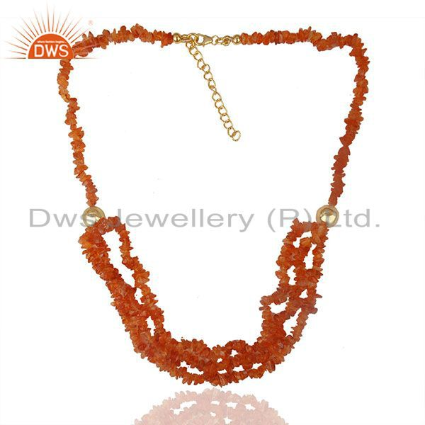 Exporter Carnelian Beaded Gemstone 925 Silver Gold Plated Necklace Suppliers