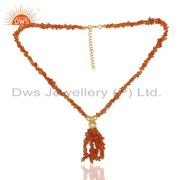 Exporter Natural Carnelian Beaded Gemstone 925 Silver Gold Plated Necklace