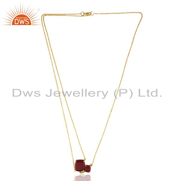 Wholesale 92.5 Sterling Silver Gold Plated Multi Gemstone Pendant Necklace