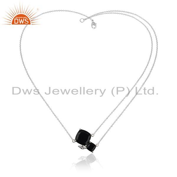 Wholesale Fine 925 Sterling Silver Black Onyx Gemstone and Cz Pendant Necklace Suppliers