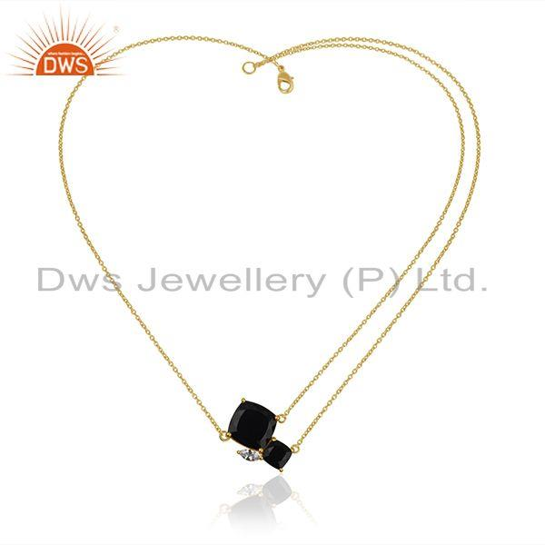 Wholesale Black Onyx Gemstone 925 Silver 18k Gold Plated Chain Necklace Wholesale