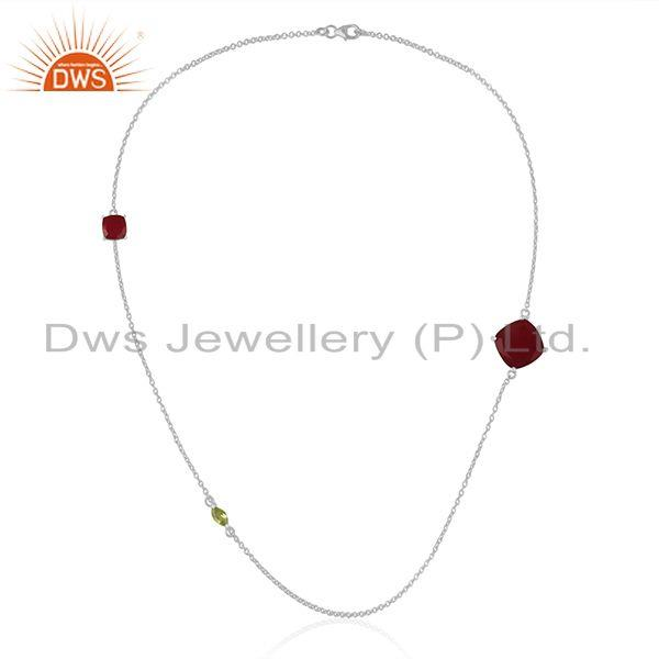 Exporter Peridot Gemstone 925 Fine Sterling Silver Chain Necklace Manufacturers