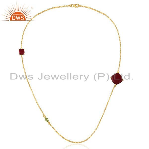 Exporter Gold Plated 925 Silver Peridot Gemstone Chain Necklace Manufacturers