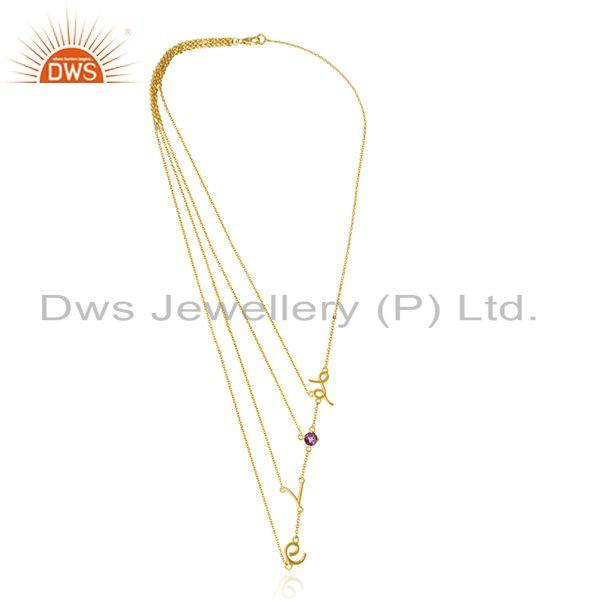 Exporter Initial Love Designer Multi Chain 925 Silver Gold Plated Birthstone Necklace