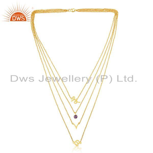 Exporter Customized Love Initial 925 Silver Gold Plated Amethyst Gemstone Chain Necklace