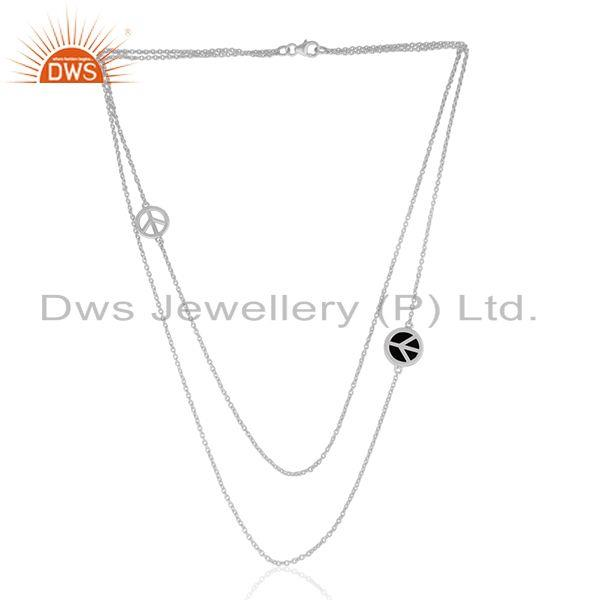 Exporter 925 Sterling Silver Peace Sign Black Onyx Gemstone Chain Necklace Manufacturer