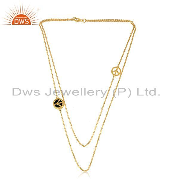 Exporter Peace Sign Gold Plated Sterling Silver Chain Necklace Wholesale Suppliers