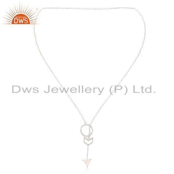 Exporter 925 Sterling Silver Arrow Design Ranibow Moonstone Chain Pendant Manufacturer