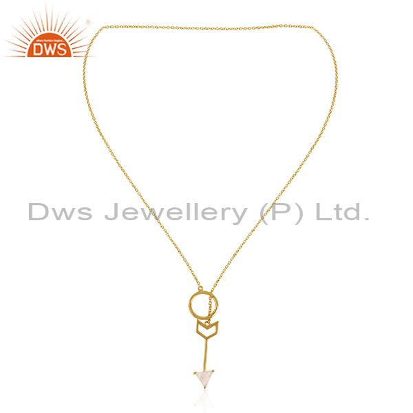 Exporter Arrow Design Gold Plated 925 Sterling Silver Moonstone Chain Pendant