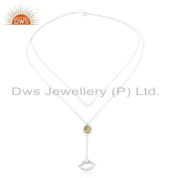 Exporter 925 Silver Lip Design November Birthstone Citrine Necklace Manufacturer