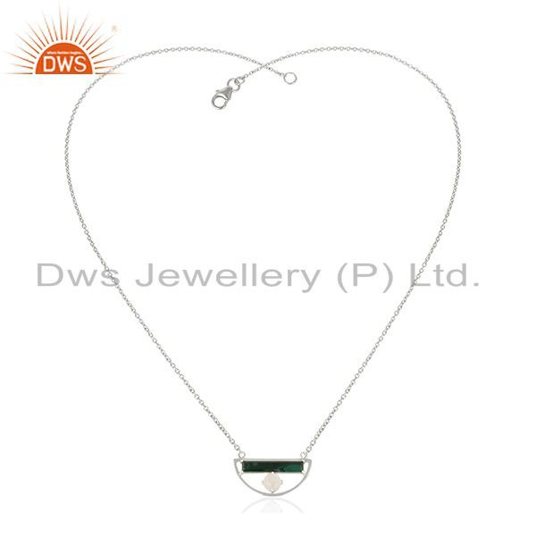 Exporter Natural Multi Gemstone Half Moon Charm 925 Fine Silver Chain Pendant Wholesale