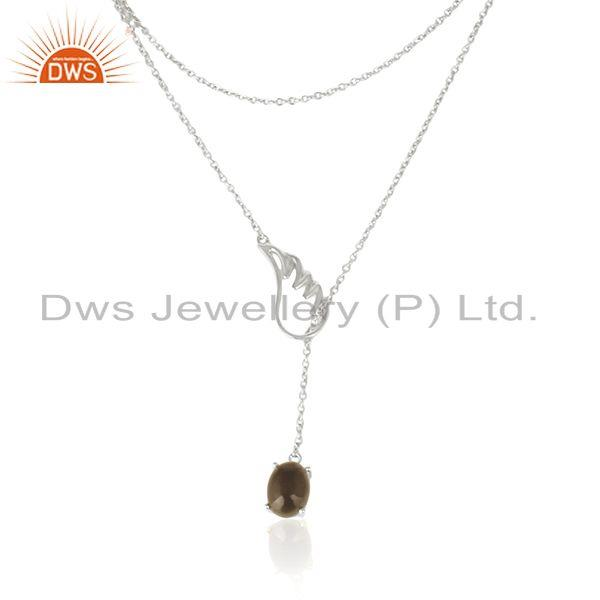 Wholesale Smoky Quartz 92.5 Sterling Silver Angle Wing Chain Necklace Manufacturer