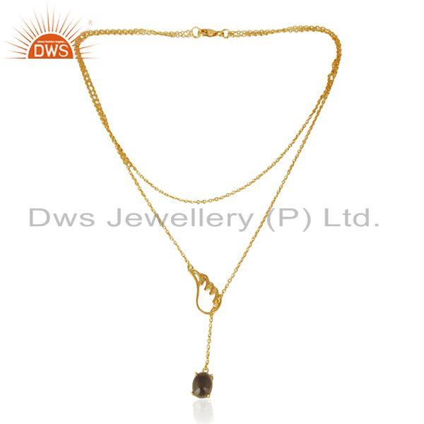 Wholesale 925 Silver Gold Plated Customize Angel Wing Gemstone Necklace Wholesale