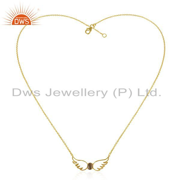 Exporter Angel Wing Gold Plated 925 Silver Smoky Quartz Chain Pendant Wholesale