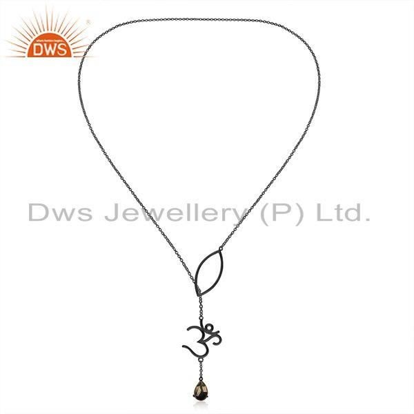 Exporter Om Charm Black Rhodium Plated Pyrite Gemstone 925 Silver Chain Pendant Wholesale