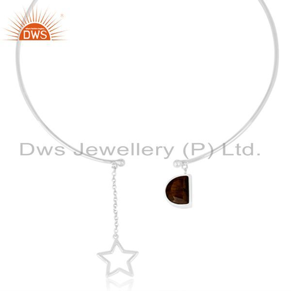 Exporter 92.5 Sterling Silver Handmade Star Charm Tiger Eye Gemstone Necklace Manufacture
