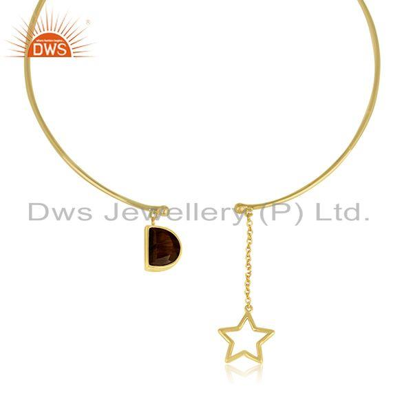 Exporter Handmade 925 Silver Gold Plated Star Charm Tiger Eye Gemstone Necklace Wholesale