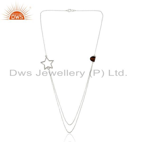 Exporter 92.5 Sterling Silver Star Charm Tiger Eye Gemstone Chain Necklace Manufacturers