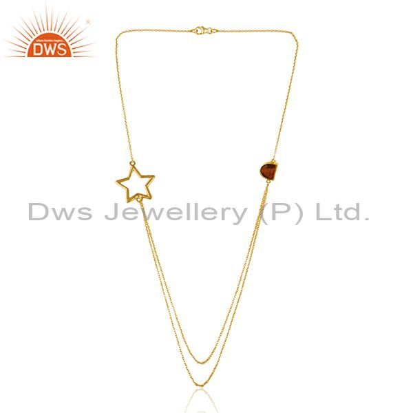 Exporter Handmade Gold Plated 925 Silver Tiger Eye Gemstone Star Charm Necklace Suppliers