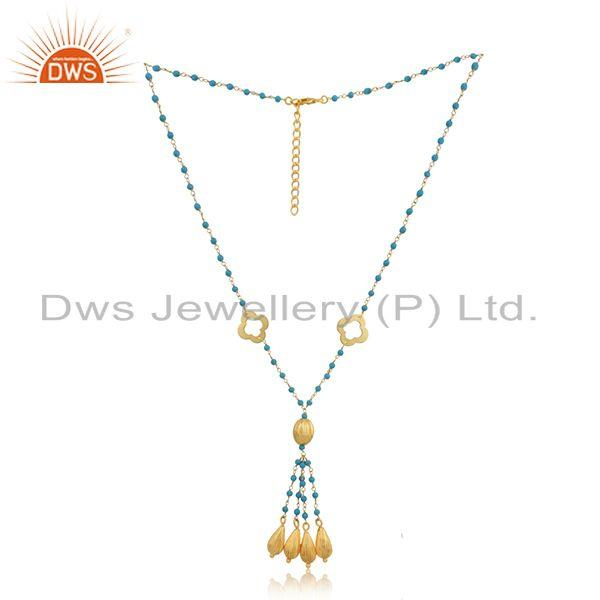 Exporter Clover Gold Plated SIlver Turquoise Gemstone Beaded Necklace Jewelry