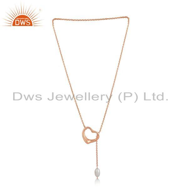 Exporter Heart Shape Rose Gold Plated Silver Natural Pearl Necklace Jewelry