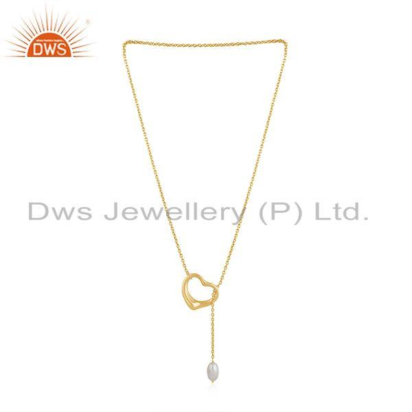 Exporter Pearl 18k Gold Plated Silver Open Heart Chain Necklace Jewelry
