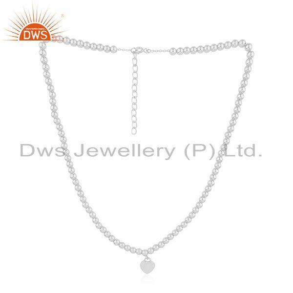 Exporter White Rhodium Plated Silver Beaded Heart Chain Necklace Jewelry