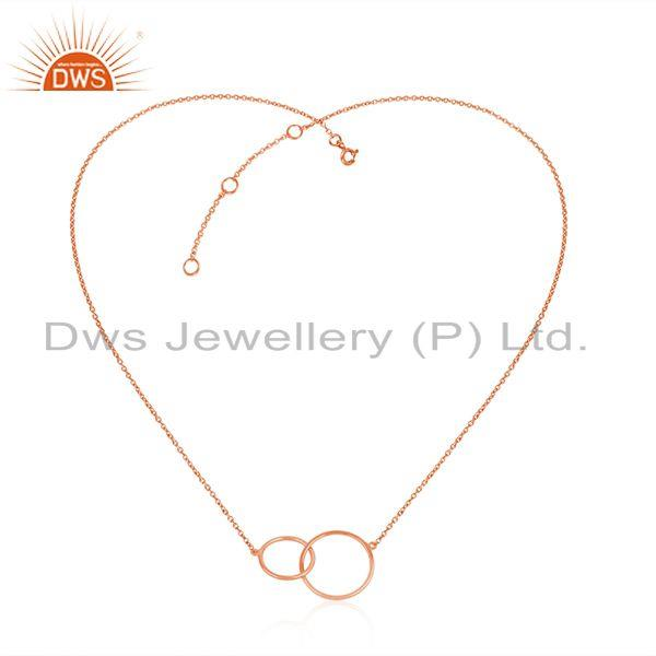 Exporter Circle Link Design Rose Gold Plated Silver Chain Necklace Jewelry